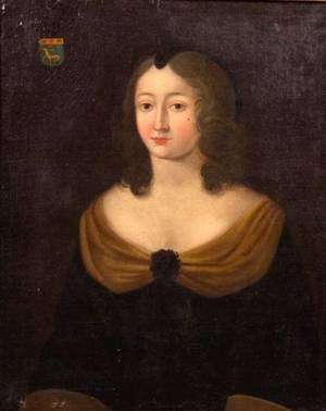 French School 18th Century Portrait of a Lady with a Family Crest