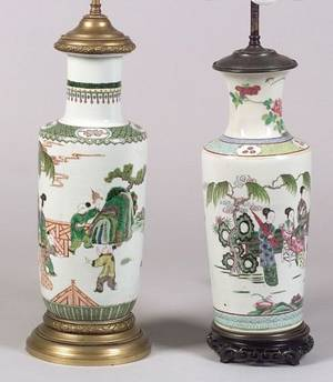 Two Chinese Porcelain Vase Lamp Bases