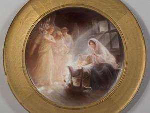 Arts and Crafts Hand Painted Porcelain Plaque of Mary and Baby Jesus