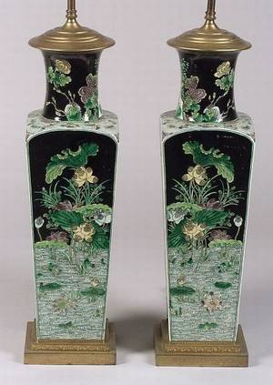 Pair of Chinese Famille Verte Porcelain Vase Lamp Bases