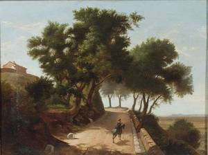 Lot of Two Landscapes Continental School 19th Century The Woodland Road Italian School 19th Century A Meeting on the Road