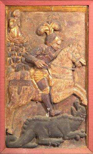 Continental Carved Fruitwood and Gesso Architectural Panel of St George