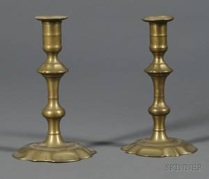 Near Pair of Brass Petalbase Candlesticks