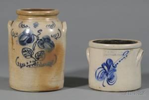 Cobalt Blue Decorated Stoneware Crock and Jar