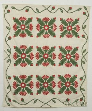 Pieced and Appliqued Cotton Oak Leaf and Flower Quilt