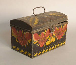 Tole decorated dome lid document box with vibrant red and yellow floral decoration