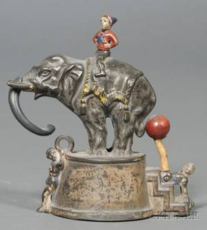 Cast Iron Circus Elephant and Clowns Mechanical Bank