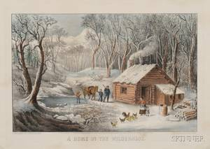 Currier  Ives publisher American 18571907 A Home in the Wilderness
