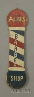 Painted Wooden Albis Barber Shop Trade Sign