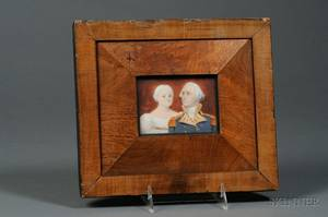 American School Late 18th Century Portrait Miniature of George and Martha Washington