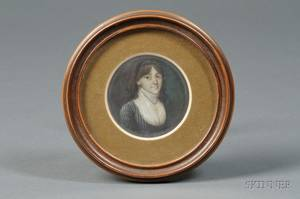 Probably Continental School 19th Century Portrait Miniature of a Young Woman