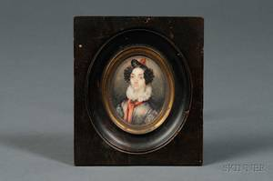 American School 19th Century Portrait Miniature of a Young Woman with a Red Sash