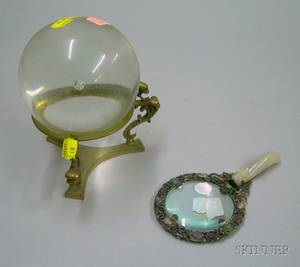 Chinese Hardstonemounted Silver Magnifying Glass and a Colorless Glass Gazing Ball on Brass Stand
