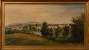 Seth W Steward American 18441927 Panoramic Hillside View of a Village