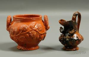 Decorated Redware Pitcher and Sugar Bowl