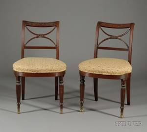 Pair of Federal Mahogany Carved Side Chairs