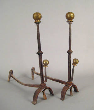Pair of Continental brass and wrought iron andirons 18th c