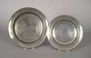 Two Connecticut pewter deep dishes ca 1835