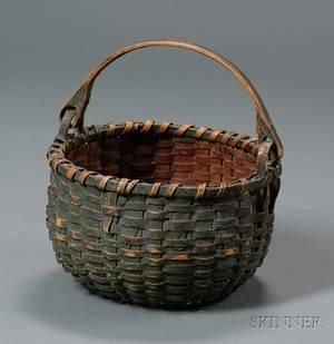 Greenpainted Woven Splint Basket