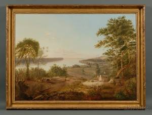 Possibly the Work of John P Beaumont American 19th Century View of the Hudson Looking Up Near Tappan