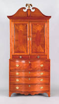 New Jersey Federal cherry two part linen press ca 1805