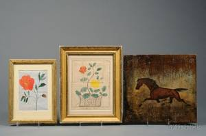 American School 19th Century Lot of Three Works Primitive Painting of a Horse and Two Floral Watercolors