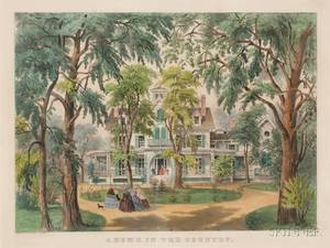 Currier  Ives publisher American 18571907 A Home in the Country