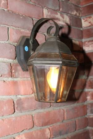Pair of Coach Lights with Beveled Glass