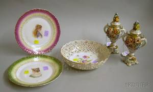 Pair of Small Dresden Handpainted Encrusted Reticulated Porcelain Potpourri Jars with Covers a German Handpa
