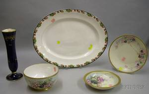 Five Assorted Decorated Porcelain Table Items and a Large Transfer Decorated Ceramic Platter