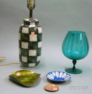 Contemporary Colored Glass Vase Three Enameled Copper Dishes and an Italian Pottery Table Lamp