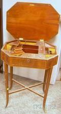 Regency Inlaid Mahogany and Mahogany Veneer Lifttop Sewing Table
