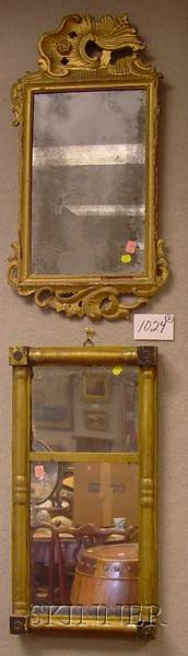 Federal Giltwood Splitbaluster Mirror and a Continental Rococo Carved Giltwood Mirror