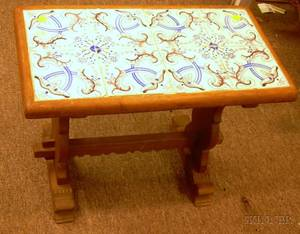Italian Faience Tiletop Carved Wood Stand