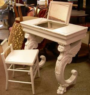 Graypainted Carved Wood Hall Table with Lifttop and Griffin Supports and a Whitepainted Wooden Vanity Chair