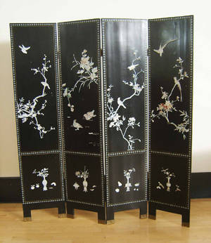 Chinese four panel folding screen