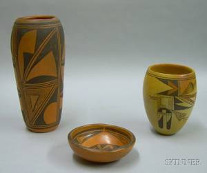 Three Southwest Native American Hopi Pottery Items