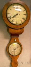 Burl Walnut Nottingham Wall Clock and Barometer