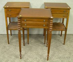 Federalstyle Inlaid Mahogany TwoDrawer Work Stand and a Pair of Federalstyle Inlaid Work Stands