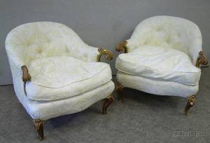 Pair of Louis XV Style Upholstered Carved Giltwood Armchairs
