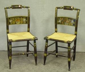 Pair of Hitchcockstyle Grained and Stencil Decorated Side Chairs with Woven Rush Seats