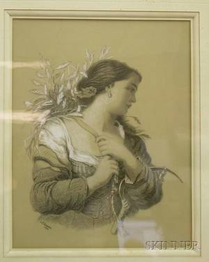 Framed 19th Century American School Charcoal and Chalk Drawing of a Girl