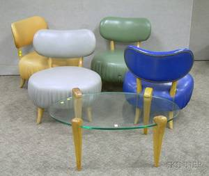 Set of Four Midcentury Modern Naugahyde Upholstered Low Chairs and a Glasstop Coffee Table