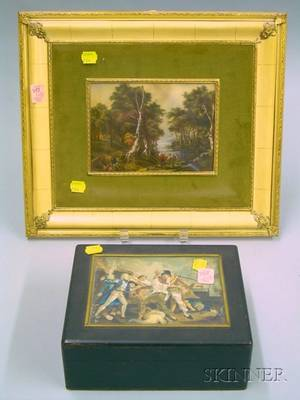 Framed European Landscape Painting on Ivorine and an Ebonized Wooden Box with Painted Ivorineinset Panel Depic