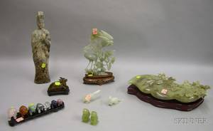 Fourteen Asian Carved Hardstone Figures and a Shaped Box with Cover