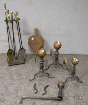 Two Pairs of Brass Balltop Andirons a Brass and Iron Stand with a Set of Three Tools Wooden Bellows and a F