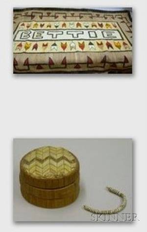 Southwest Native American Navajo Woven Wool Bettie Rug and a Small Native American Quill Decorated Covered Bo