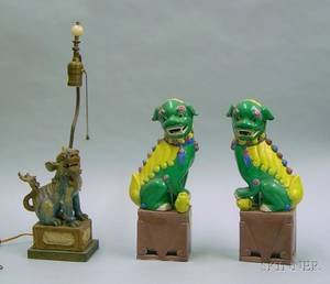 Pair of Asian Glazed Ceramic Foo Dog Figures and a Glazed Pottery Foo Dog Figural Table Lamp