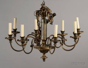 Baroquestyle Patinated Metal EightLight Chandelier