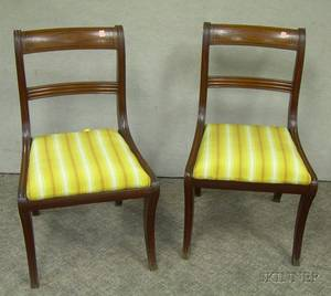 Pair of Regency Ebonyinlaid Mahogany Side Chairs with Upholstered Slip Seats